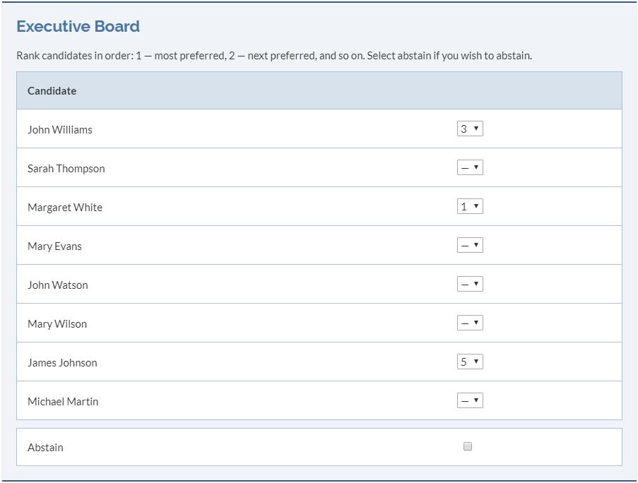 Preferential voting screenshot.