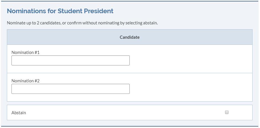 Nomination ballot